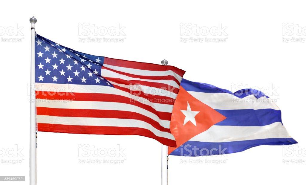 Cuba and USA flag stock photo
