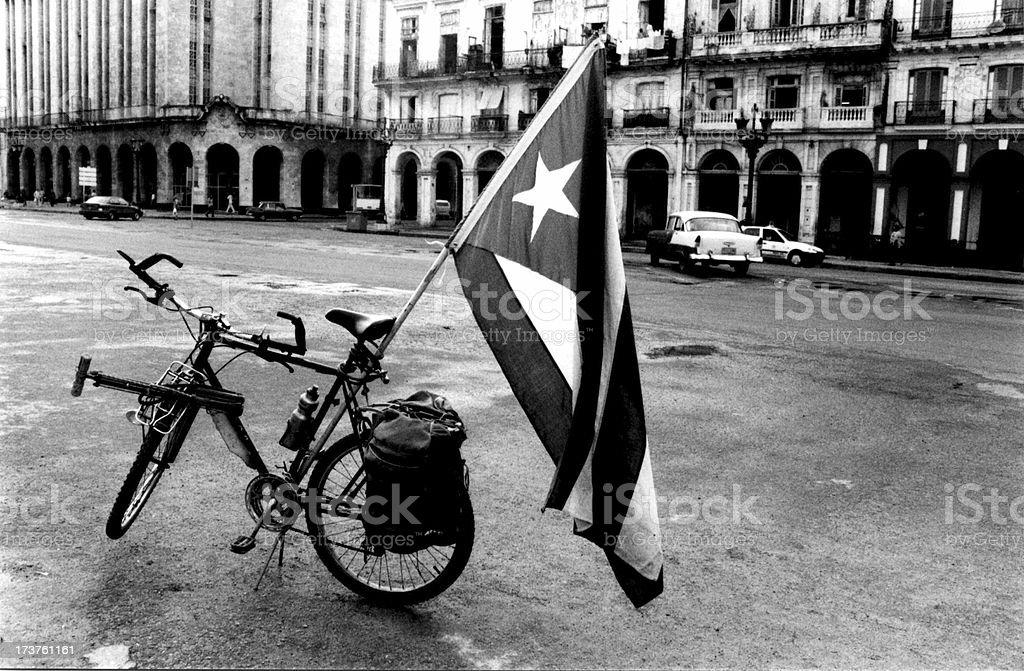 Cuba Flag on Bicycle 1999 stock photo