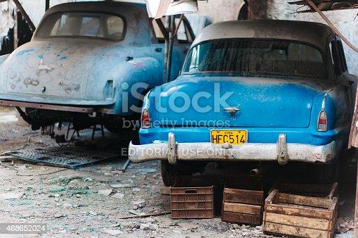 Havana, Cuba - September 5, 2014: Old, blue vintage 1950's styled cars in Havana, Cuba