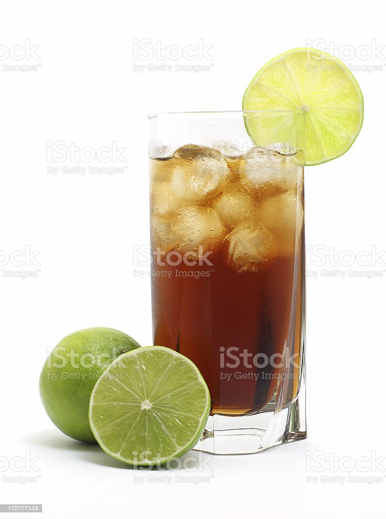 Cuba Libre long drink isolated on white with lime royalty-free stock photo