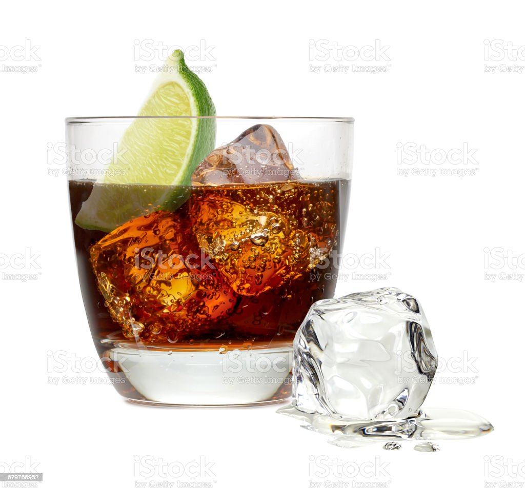 Cuba libre rum cocktail with ice cubes isolated on white background stock photo