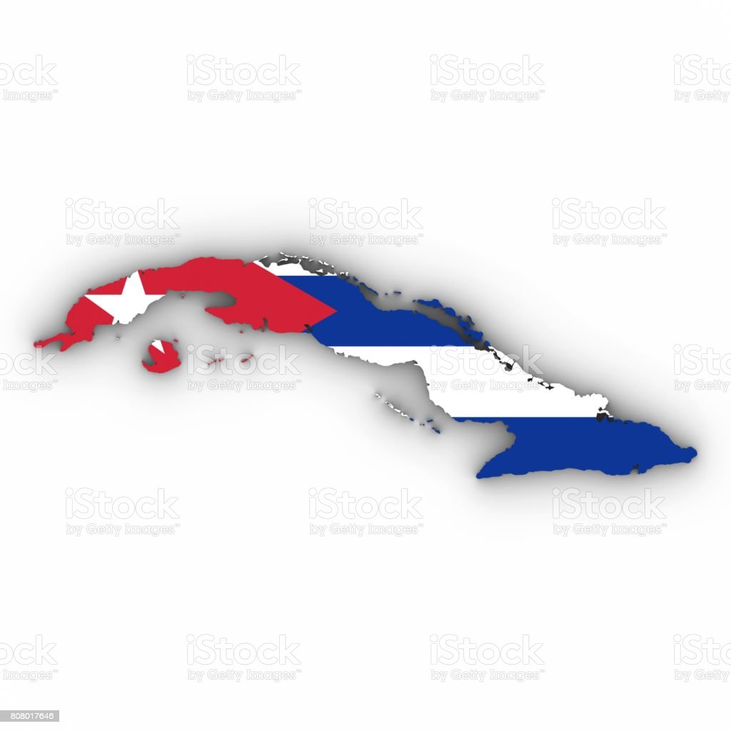 Cuba Map Outline With Cuban Flag On White With Shadows 3d