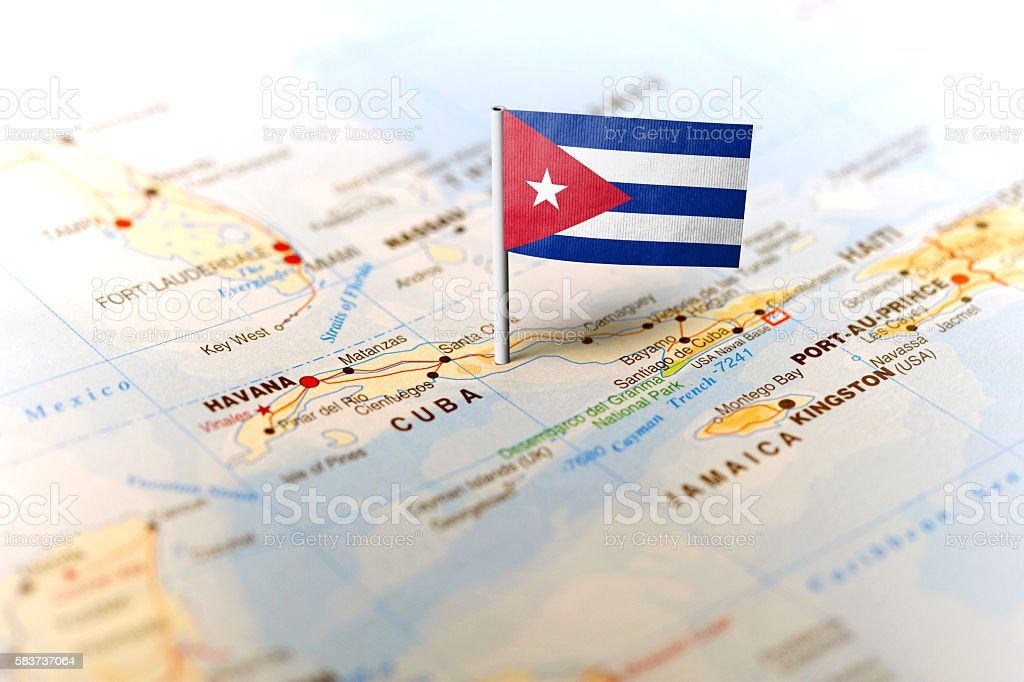 Cuba pinned on the map with flag stock photo