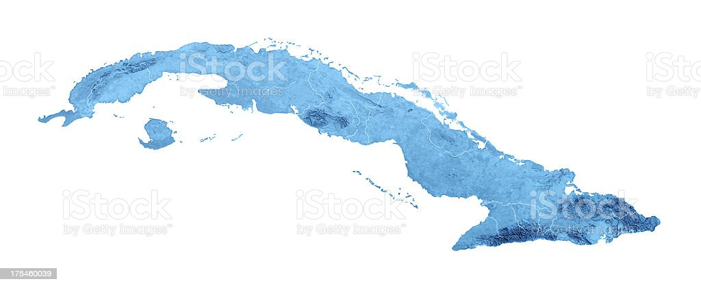 Cuba Topographic Map Isolated stock photo