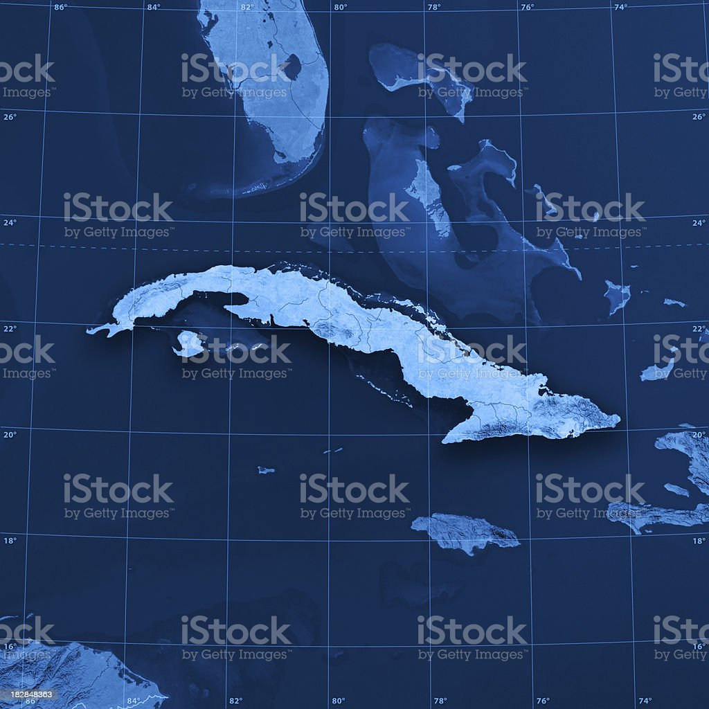 Cuba Topographic Map stock photo