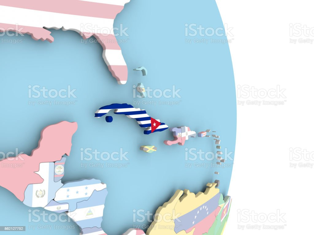 Cuba with flag on globe stock photo