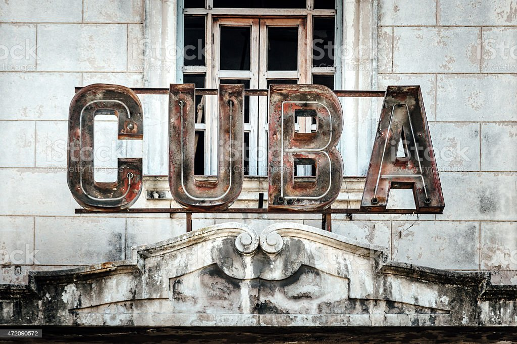 Cuba writing on building facade, Havana, Cuba stock photo