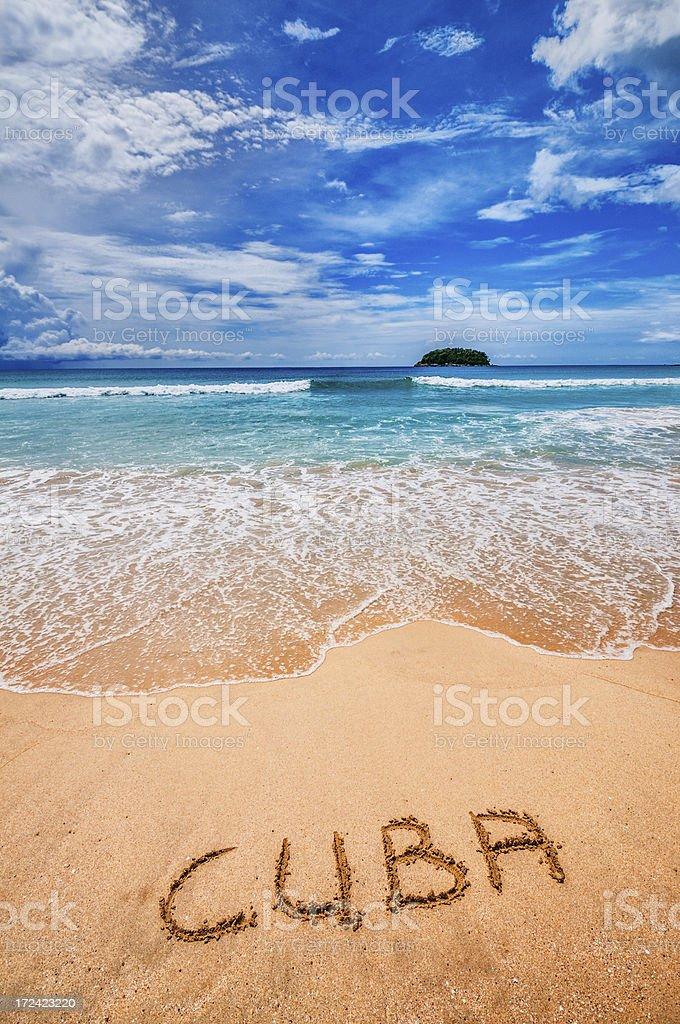 Cuba Written on the Sand stock photo