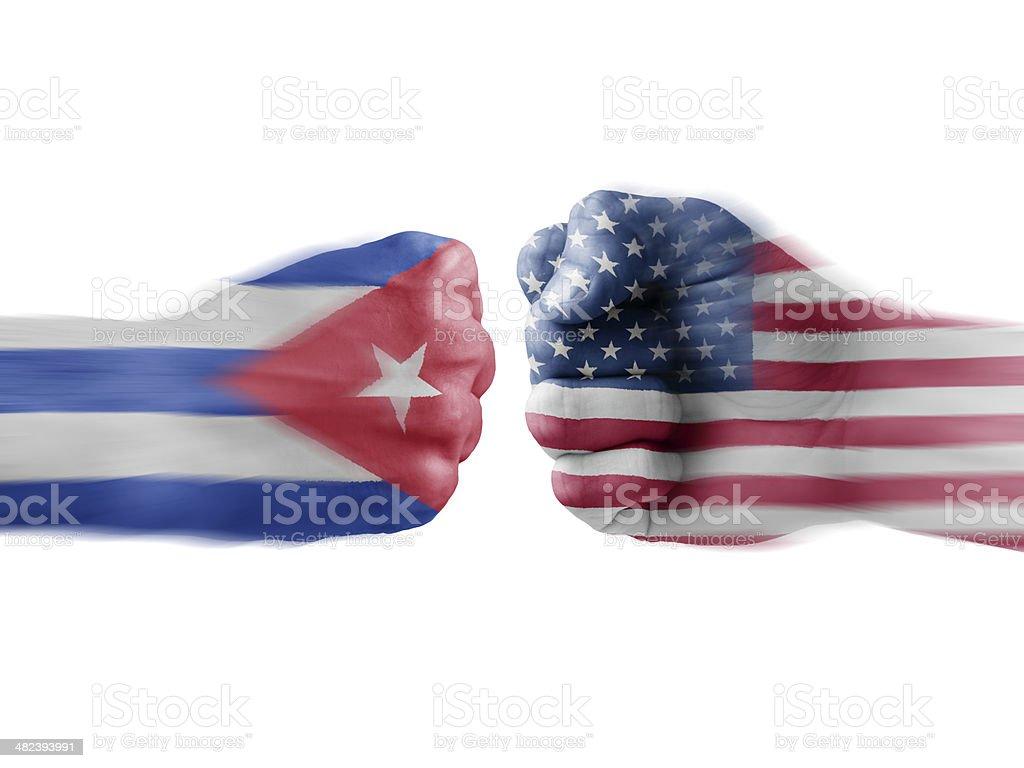 Cuba x USA stock photo