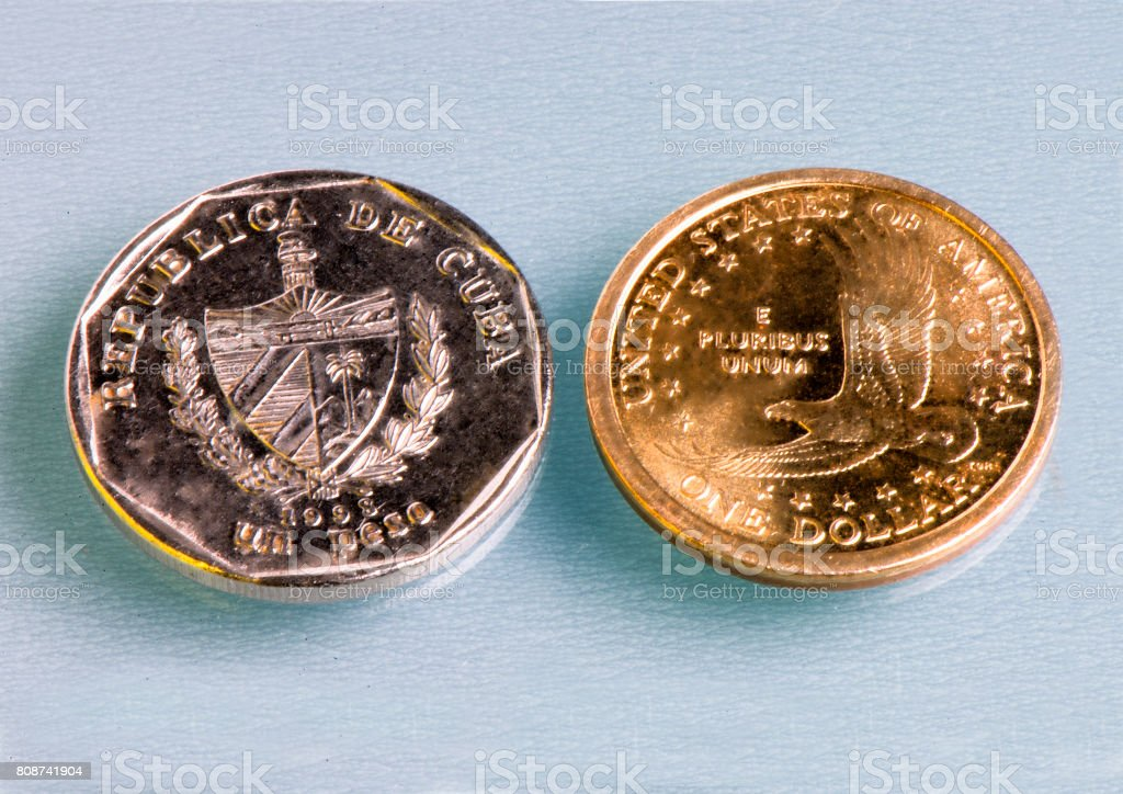 Cuban and American Coins stock photo