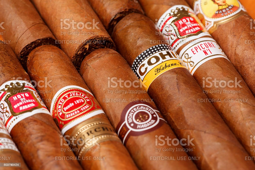 Cuban cigars Ciudad de Mexico, Mexico - August 1, 2015: Cuban Cigars.  All cigar production in Cuba is controlled by the Cuban government, and each brand may be rolled in several different factories in Cuba. Addiction Stock Photo