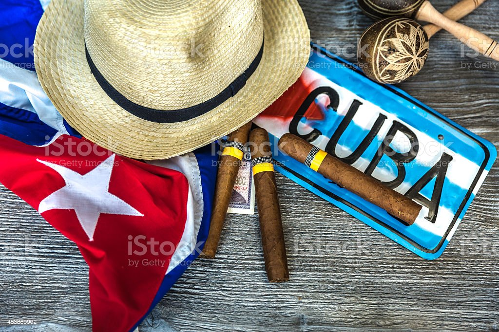 Cuban concept table of some related items stock photo