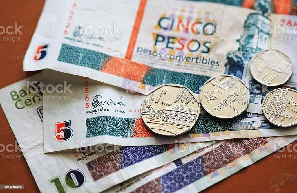 Cuban Convertible Peso notes and coins stock photo