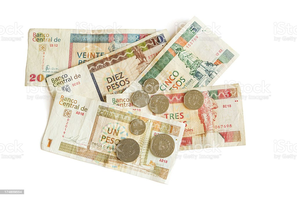 Cuban CUC Foreign Exchange Currency on White Background.jpg stock photo