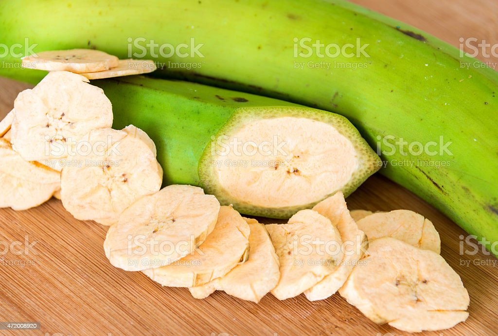 Cuban Cuisine: Green Plantian Banana Chips stock photo