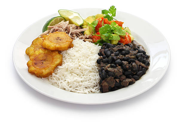 cuban cuisine, arroz con frijoles negros traditional cuban cuisine arroz stock pictures, royalty-free photos & images