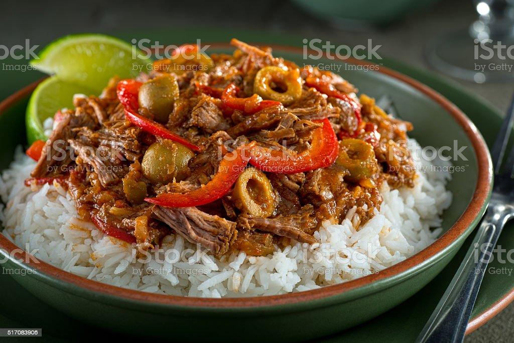 Cuban Cuisine, Ropa Vieja stock photo