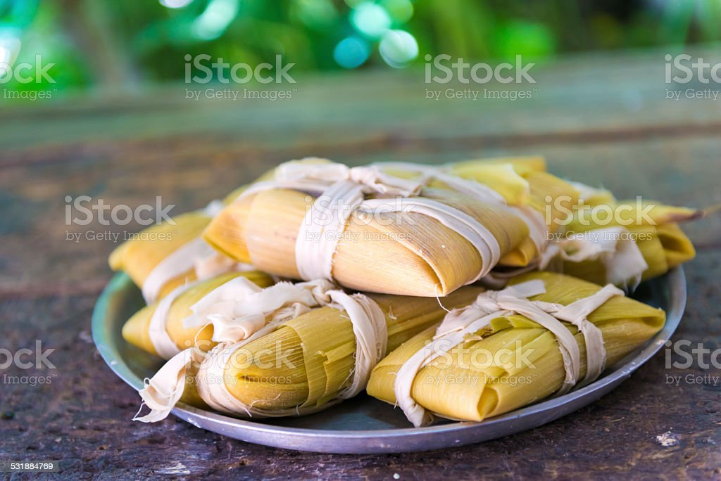 Cuban cuisine: traditional homemade tamales stock photo