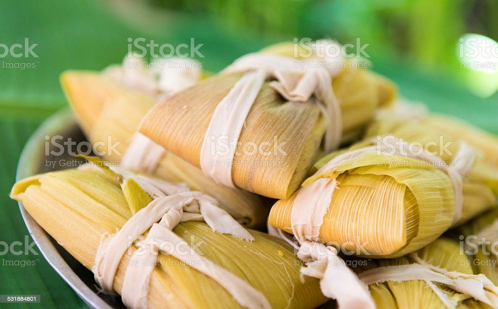 Cuban cuisine: traditional homemade tamales stock photo