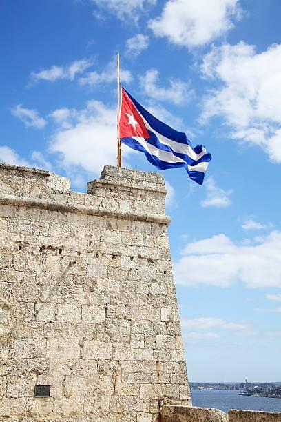 Cuban Flag at Half Mast, Morro castle stock photo