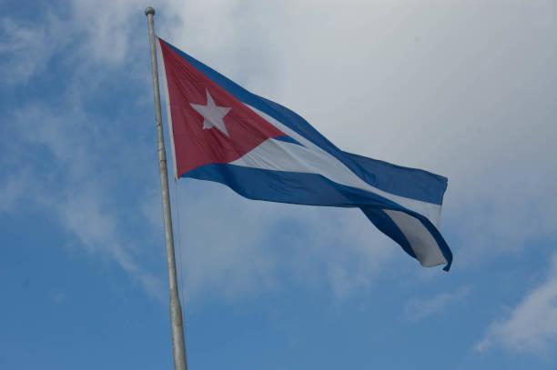 Cuban Flag in Revolutionary Square stock photo
