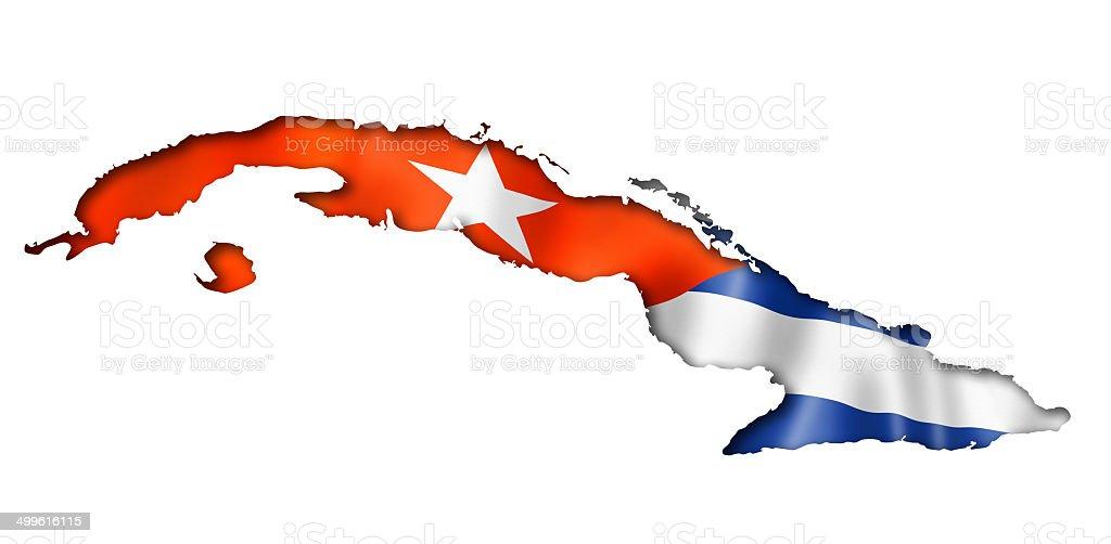 Cuban flag map stock photo