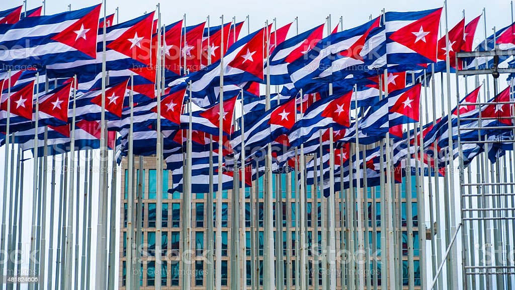 Cuban Flags fly in front of American Embassy stock photo