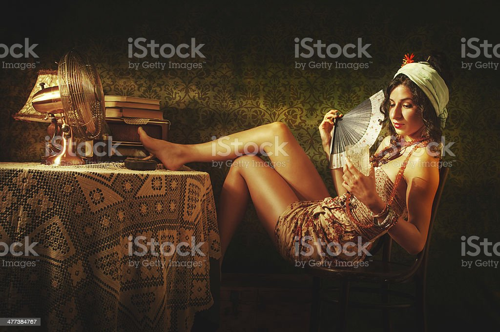 Cuban girl relaxing on warm summer day stock photo