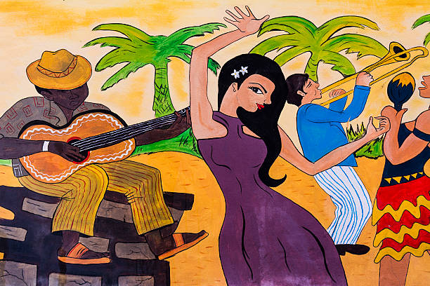 Cuban Graffiti of a Party Graffiti of Cuban Party. Musicians playing the guitar and trumpet, woman dancing. latin american culture stock pictures, royalty-free photos & images