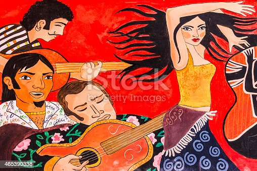 Graffiti of Cuban Party. People singing, playing the guitar and a woman dancing.
