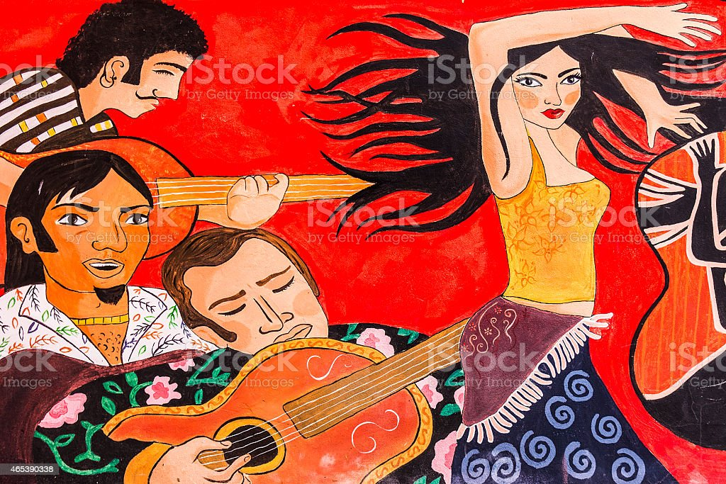 Cuban Graffiti of Guitar Player and Dancer stock photo
