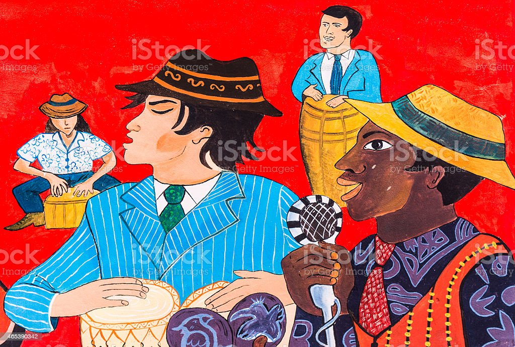 Cuban Graffiti of Musicians stock photo