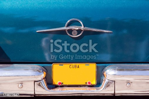 Blank yellow Cuban vehicle licence plate on old American car