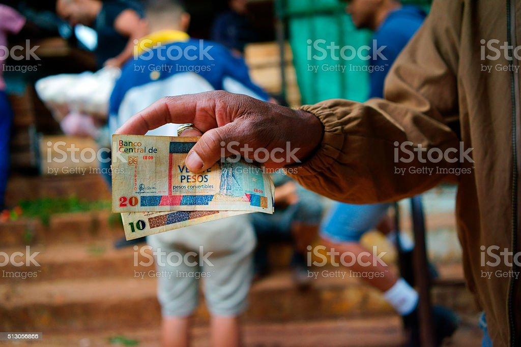 Cuban market transactions stock photo