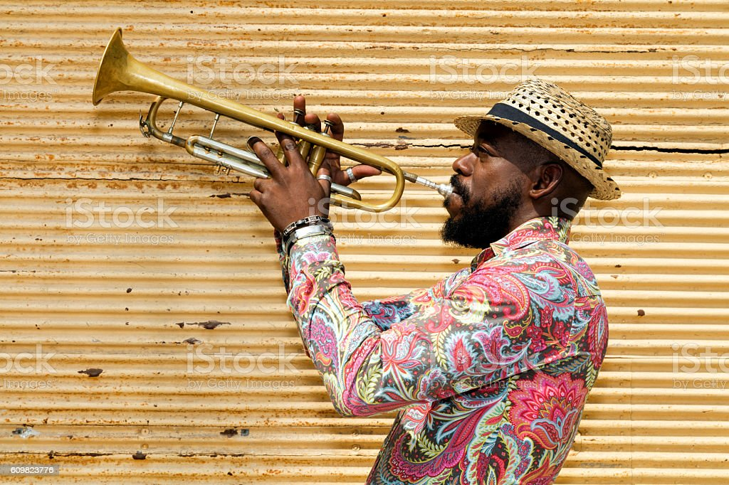 Cuban musician playing trumpet, Havana, Cuba stock photo