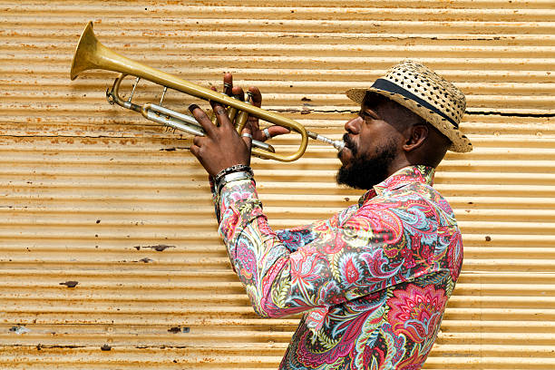 cuban musician playing trumpet, havana, cuba - caribbean culture stock pictures, royalty-free photos & images