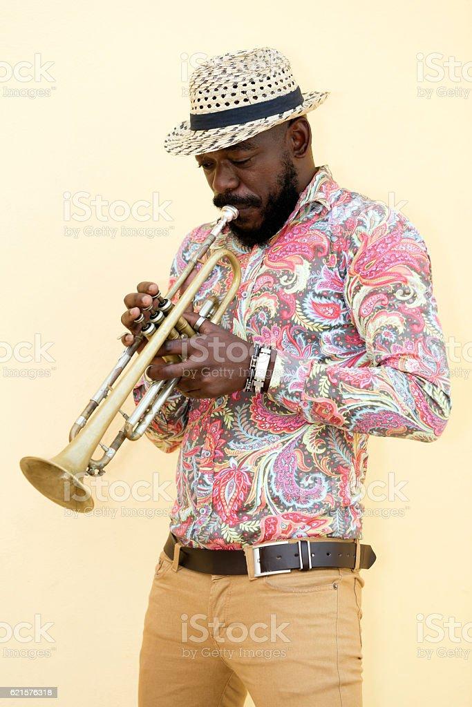 cubain Musicien jouant trompette, La Havane, Cuba photo libre de droits