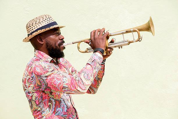 cuban musician playing trumpet, havana, cuba - musician stock photos and pictures