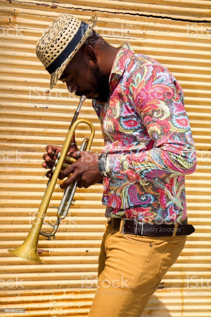 Cuban musician playing trumpet stock photo