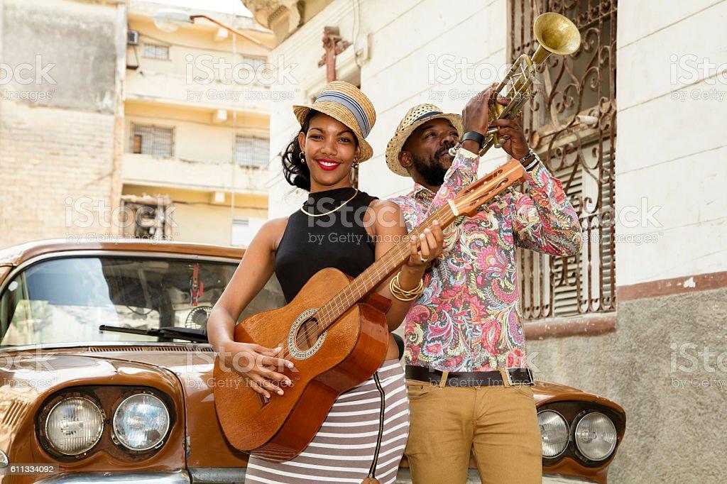 Cuban musicians outdoors, Havana, Cuba stock photo