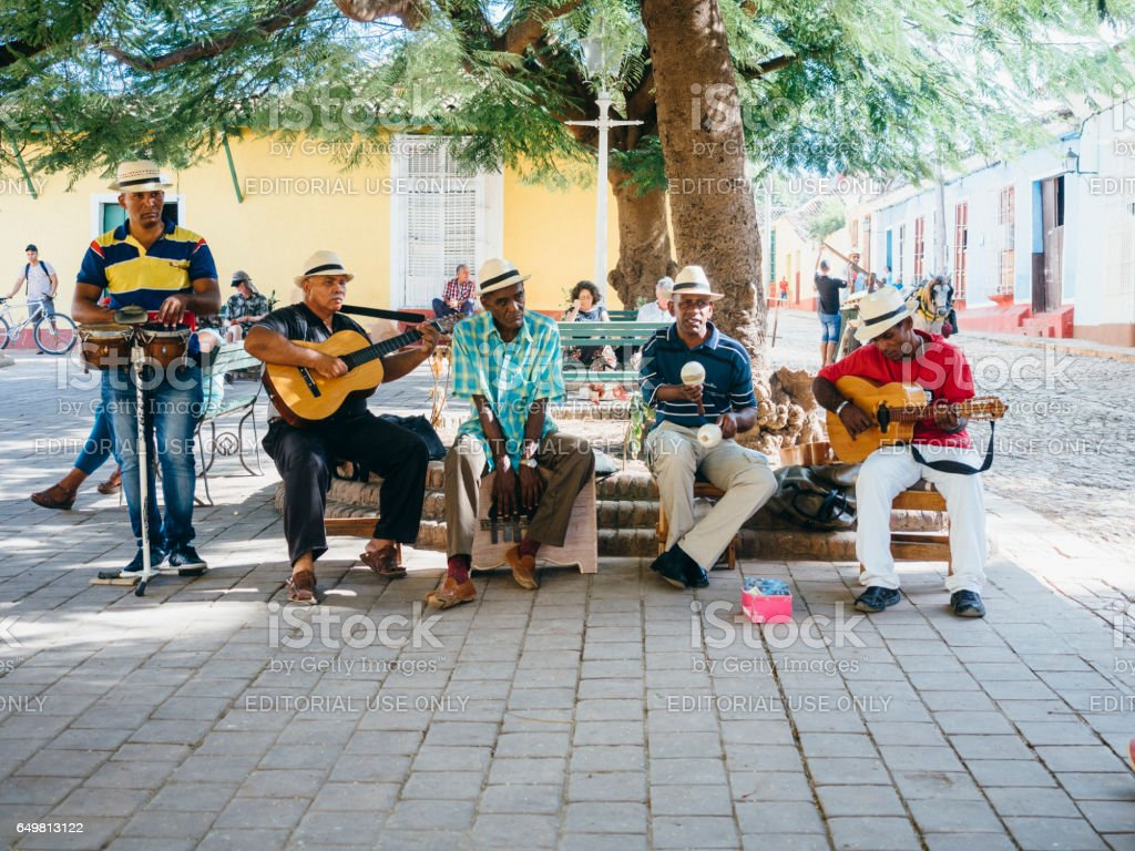 Cuban musicians playing in the street stock photo
