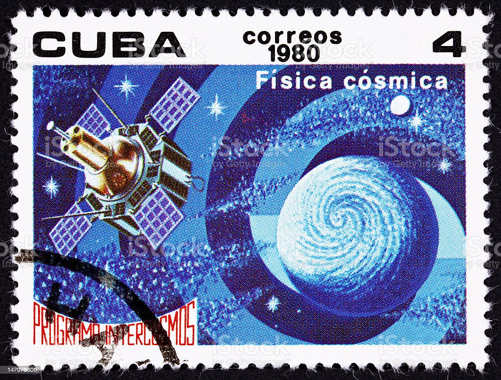 Cuban Postage Stamp Satellite Studying Earth Astrophysics Outer Space Intercosmos royalty-free stock photo