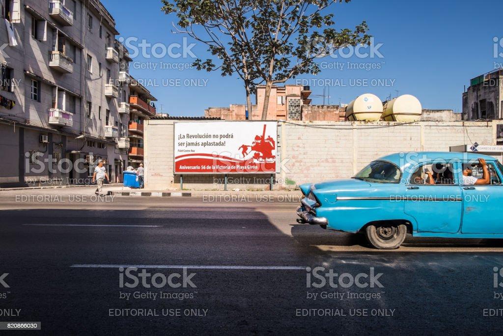 Cuban Revolution Anniversary sSign in Avana stock photo
