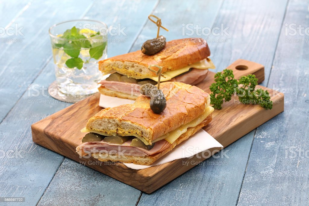 cuban sandwich, cuban mix, cuban pressed sandwich stock photo