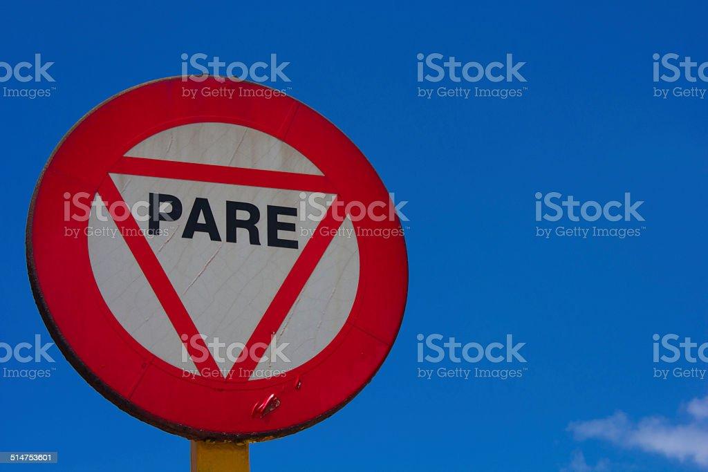 Cuban stop road sign. stock photo