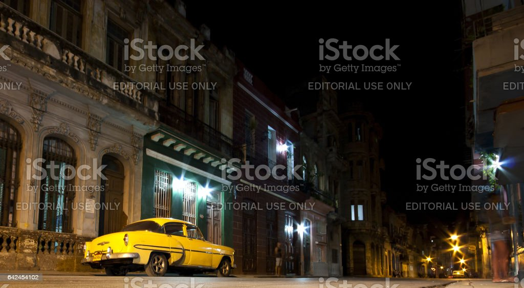 Cuban street by night stock photo
