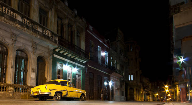Cuban street by night stock photo