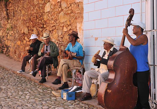 Cuban street music band stock photo