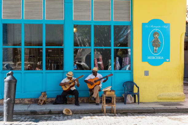 cuban street musicans in the side street in havana city cuba  - serie cuba reportage - cuba stock photos and pictures