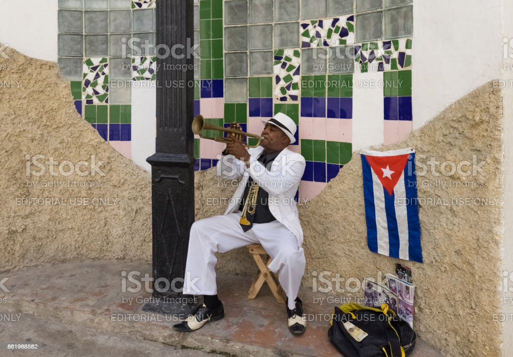 Cuban street musician in the old town from Havana City  - Serie Cuba Reportage stock photo